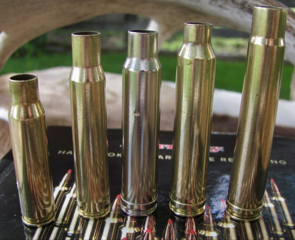 Left to Right .308 Winchester, 30-06 Springfield, .338 Winchester Magnum, .300 Winchester Magnum, .375 H&H Magnum