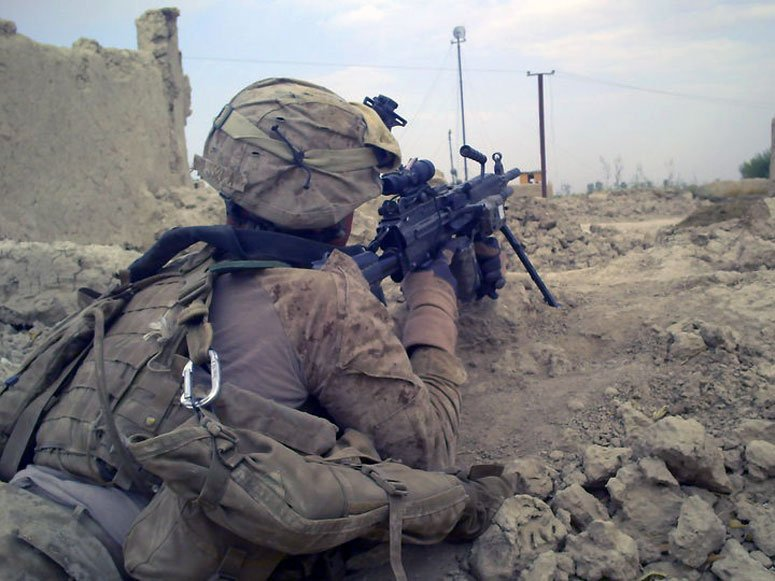 Ya' Boy with an ACOG equipped M249 Helmand Province Afg 2009