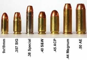 9mm, .357 Sig, .38 Spl, .40 SW, .45 ACP, .44 Mag, .50 AE