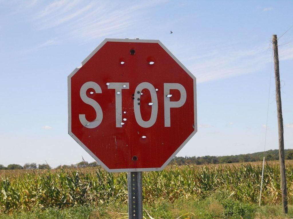 plinking at stop sign.