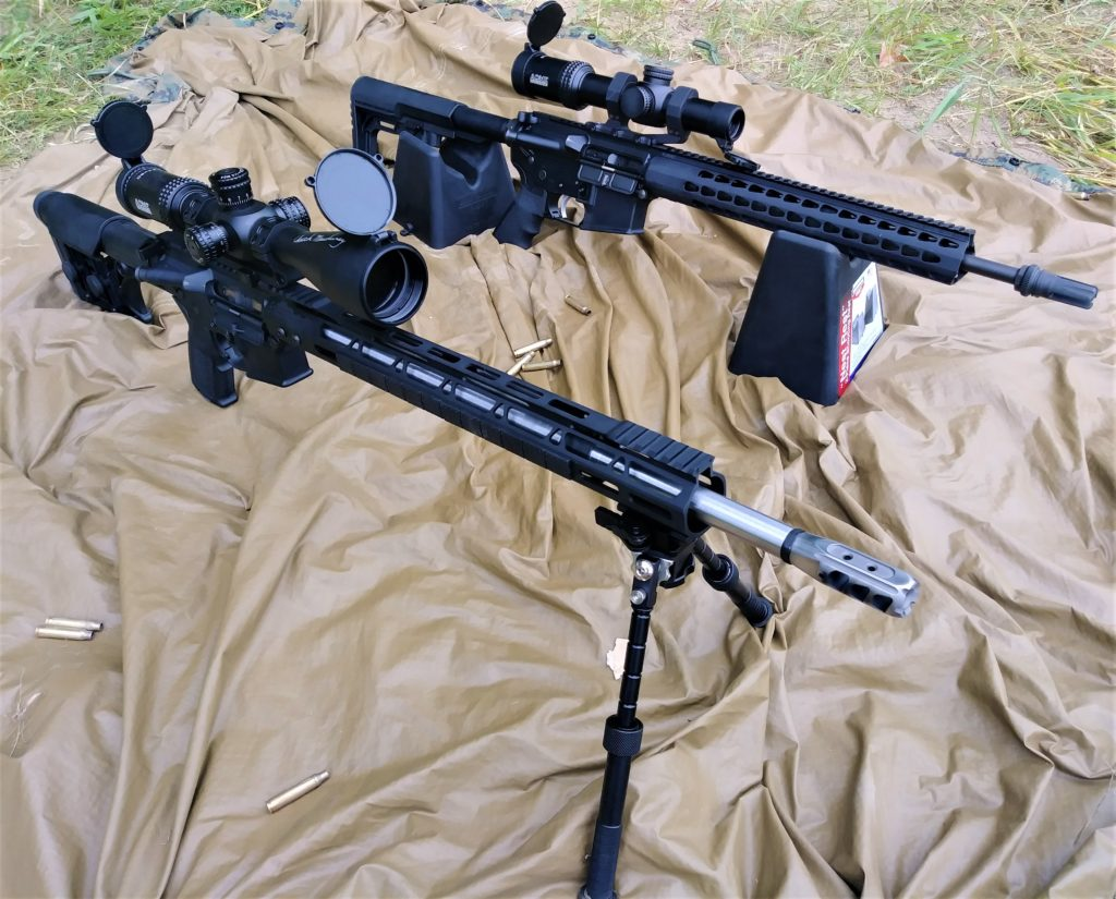 Author's two rifles used for the accuracy test of a 1:7 rifle twist