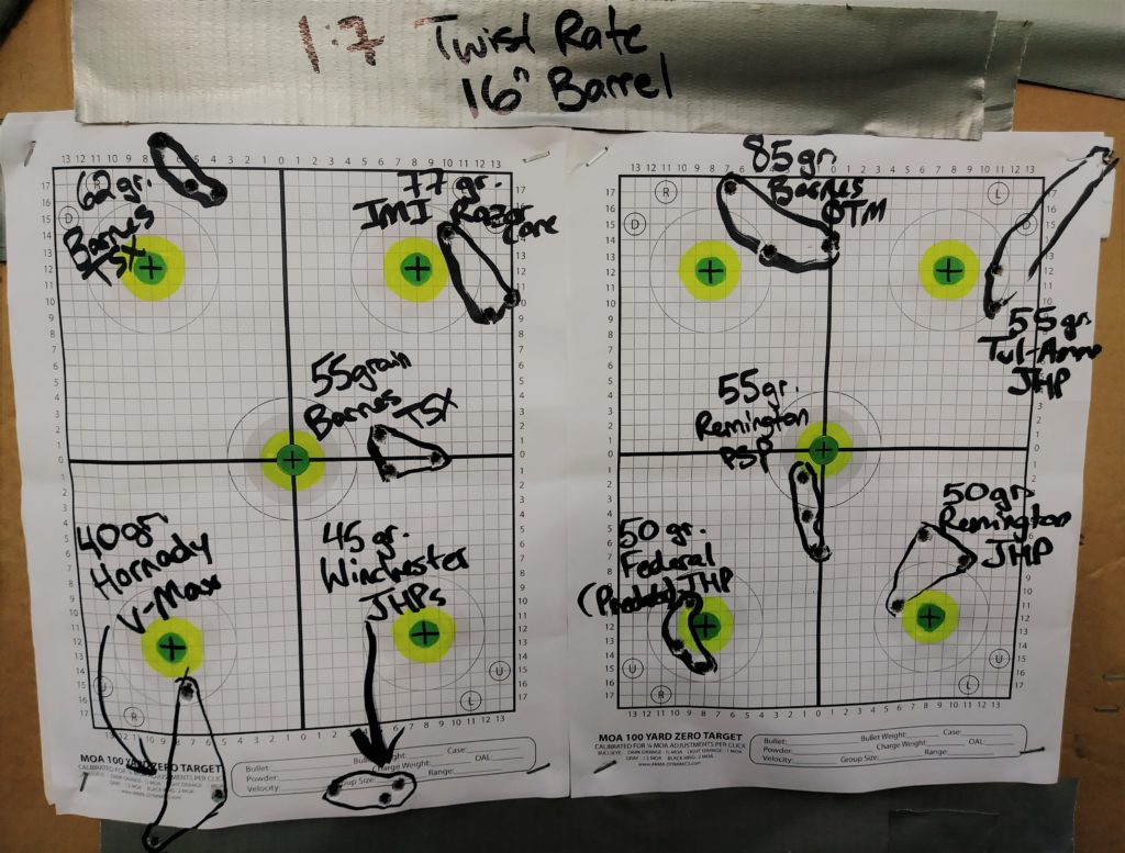 "Targets for the 10 different loads tested out of a 16"" Bushmaster barrel"
