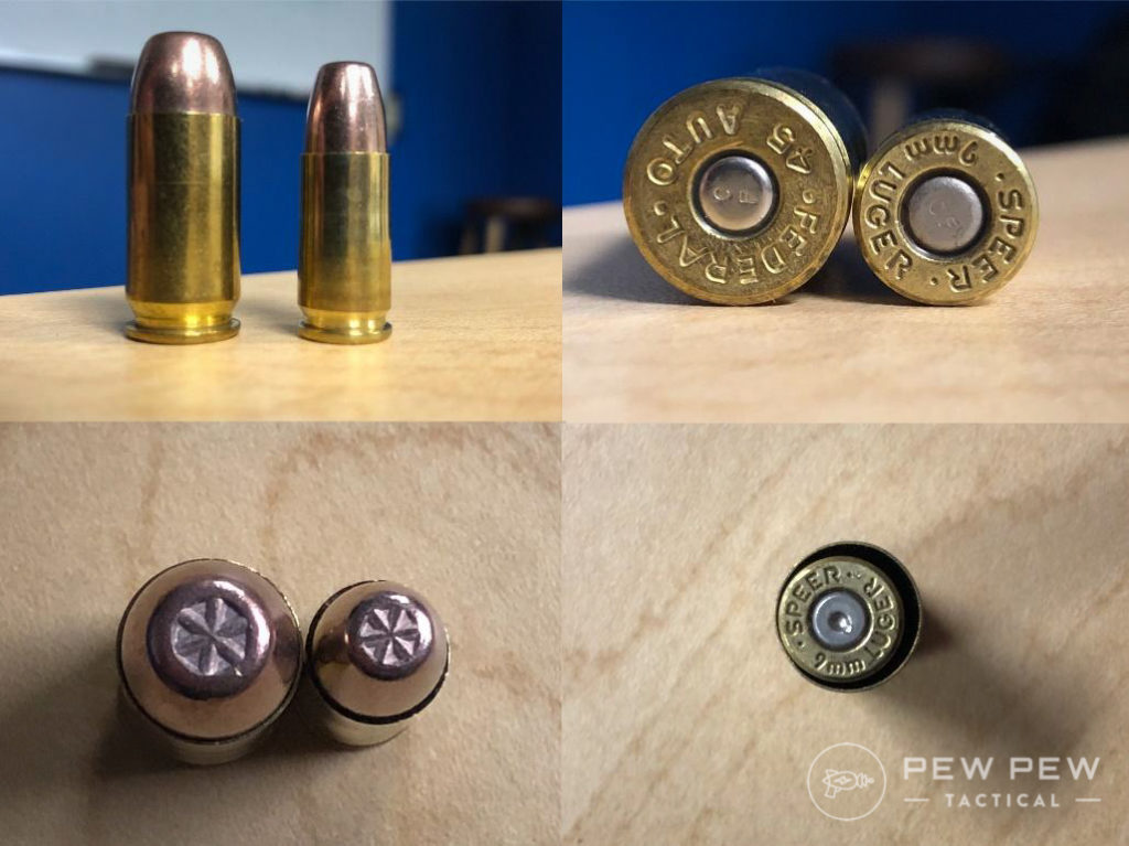 In the photos above you see a 230 grain .45 compared with a 115 grain 9mm. The size difference is pretty significant. On the bottom right, the .45 case can hold the 9mm with room to spare