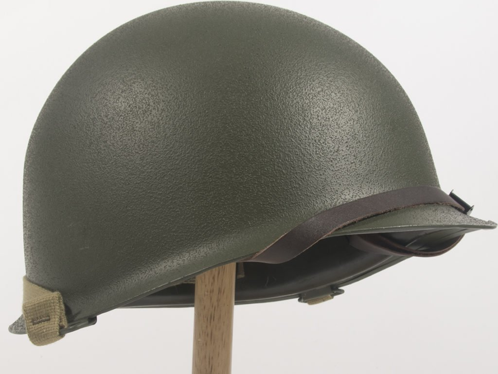 The M1 Helmet, standard issue to US armed forces (except paratroops) during World War II.