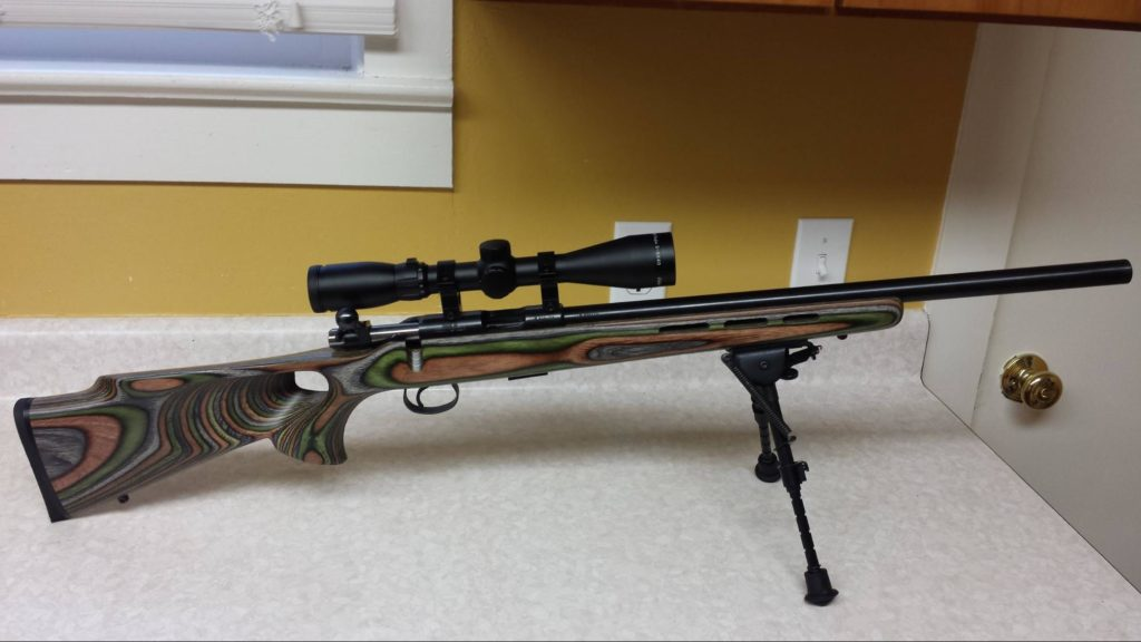The CZ455 .22 with cheapo 3x9 scope and HBRMS bipod.
