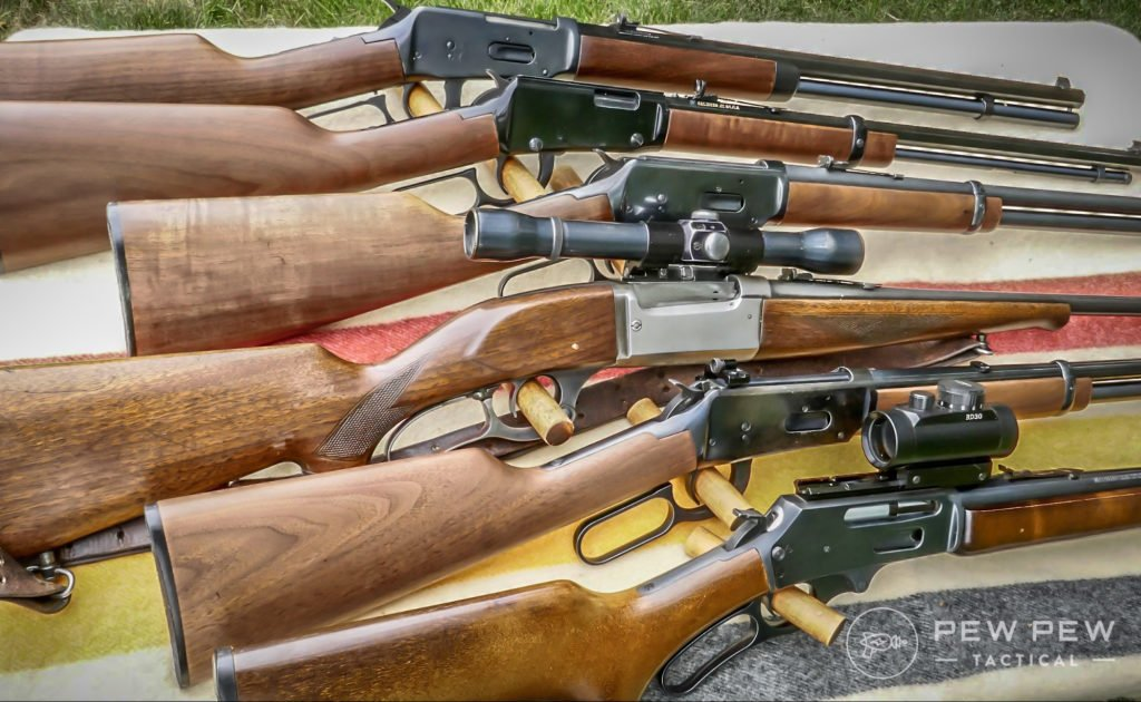 Top to Bottom Winchester 94 in 45 Colt, Henry 22LR, Winchester 94 Carbine 30-30, Savage 99 in 300 Savage, Winchester 94 Trapper 30-30, Marlin 30AS 30-30