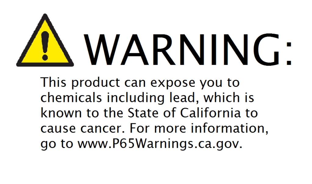 New Prop 65 warning label