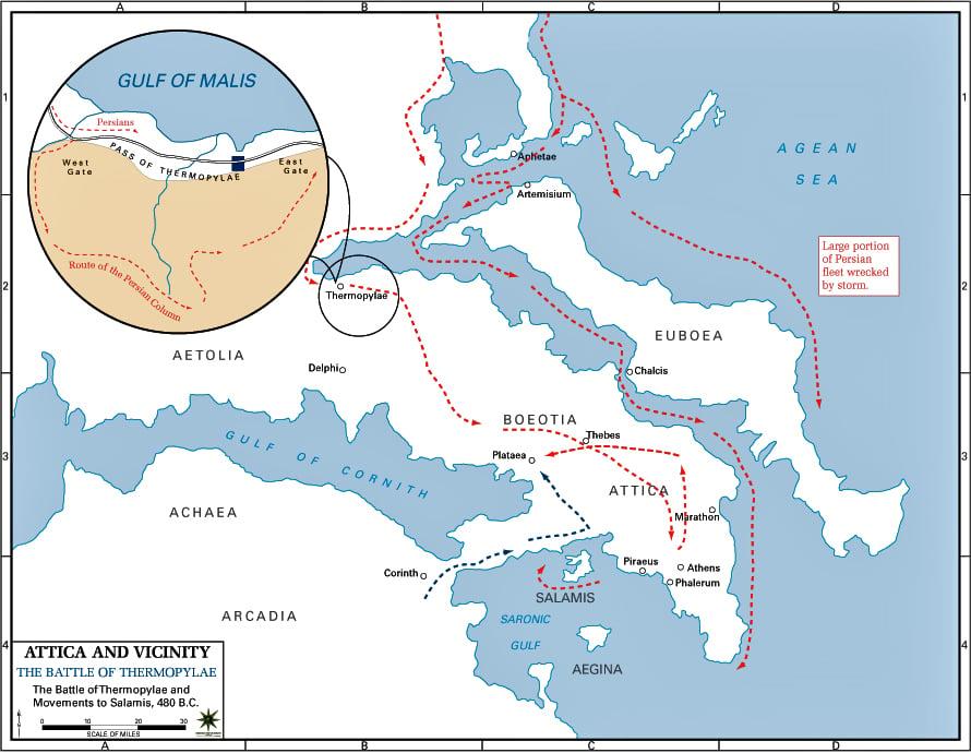 battle of Thermopylae map