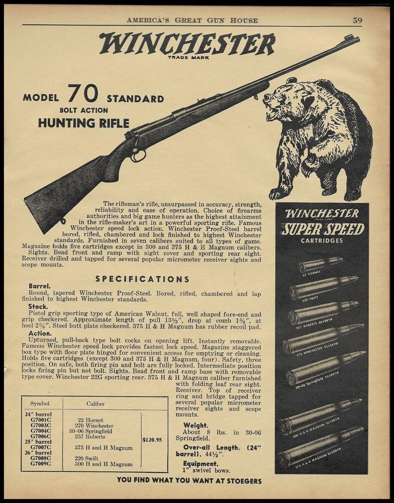 Winchester model 70 ad 1950s