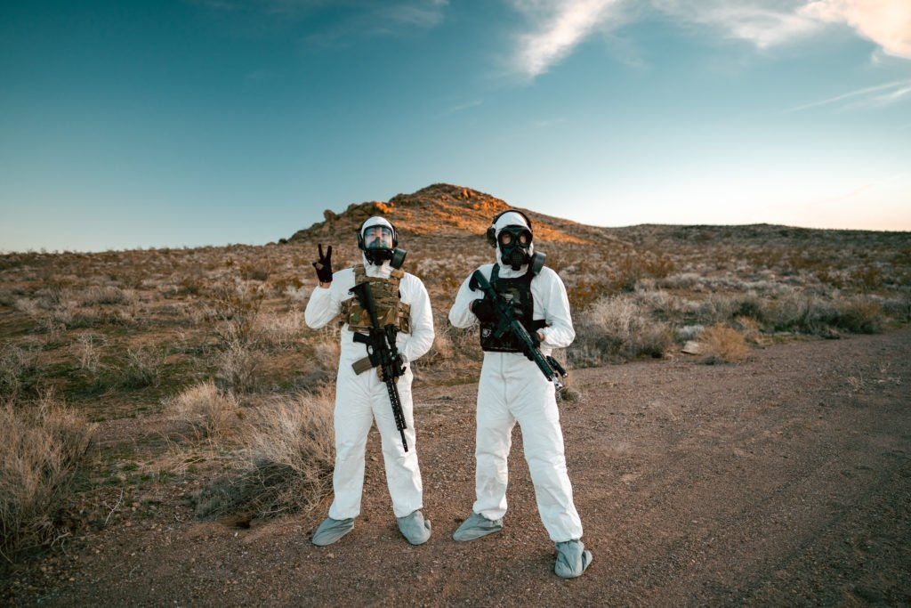 Pew Pew Tactical Shooting with MIRA Safety Gas Masks