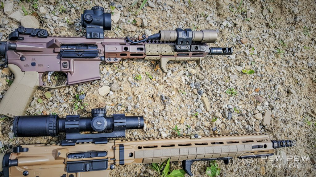 Author's ARs with MI Combat Rail, and DD MFR XS.