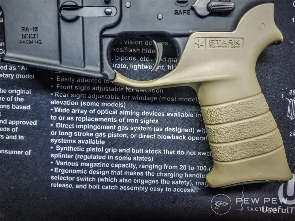 AR-15 Grip Lowering the pistol grip allows better trigger finger placement by design. (image10)