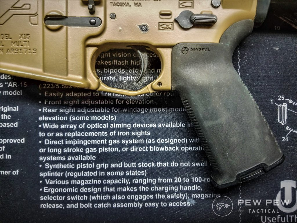 AR-15 Grip Magpul MOE+ on a RECCE Rifle build that provides great traction. (image4)