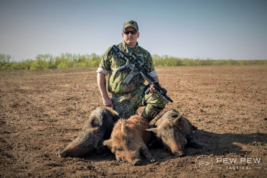 Author on a previous hunt using an AR-15 for hog eradication