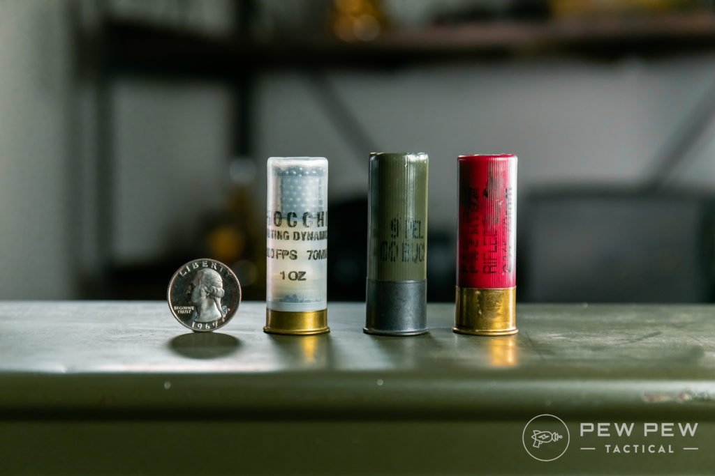 Types of 12ga Shotgun Shells (L to R: Bird, Buck, Slug)