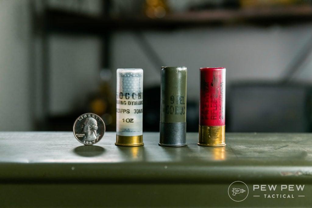 Types of 12ga Shotgun Shells (L to R: Bird, Buck, Slug)