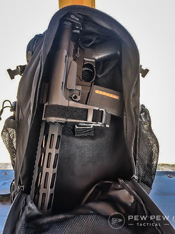 Ruger Pistol AR in a backpack