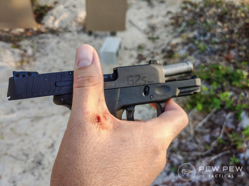 Taurus G2S chewed up hand