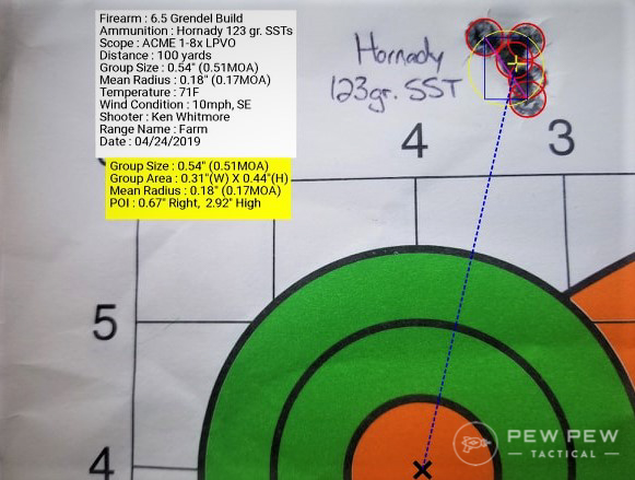 Typical sub-MOA 5-shot group with this rifle using Hornady SSTs