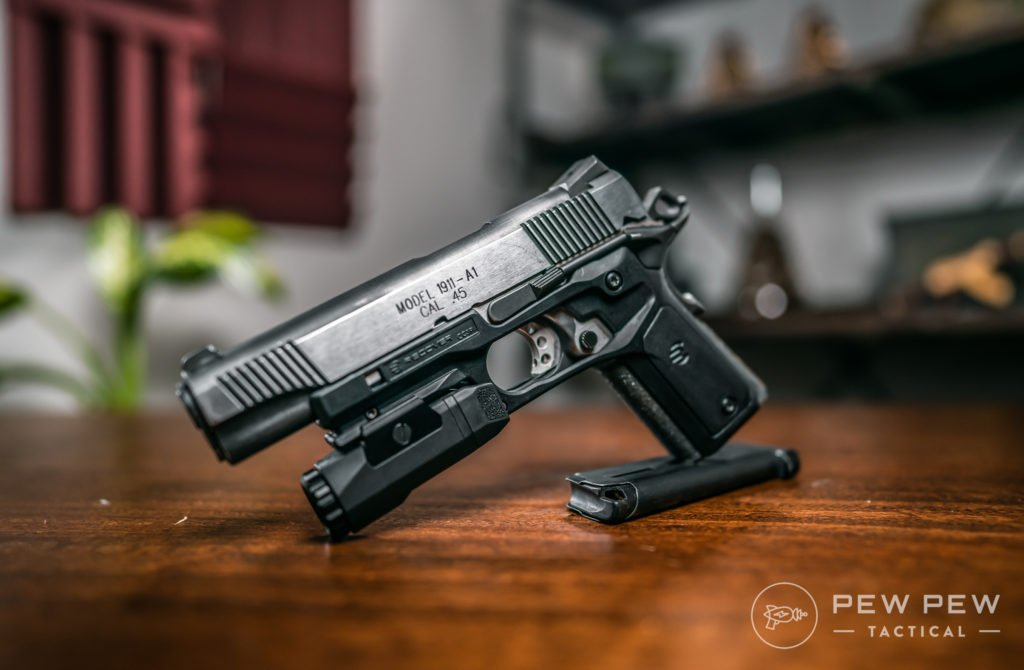 Springfield Loaded 1911 with Recover Tactical Grips and Inforce