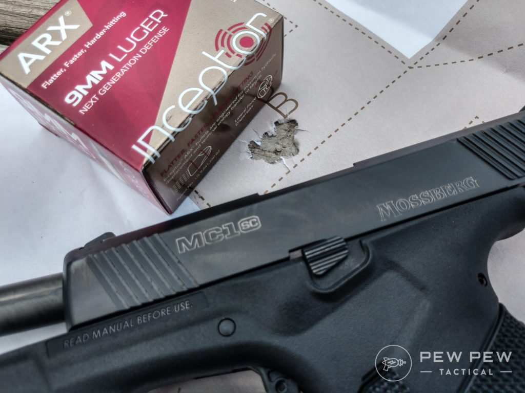 Does the Mossberg MC1SC love frangibles Uh, yes. Check out this group using Inceptor ammo at ten yards