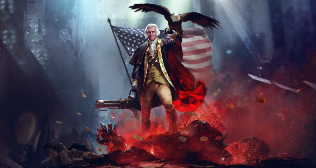 George Washington after crossing the Delaware River in 1776, colorized