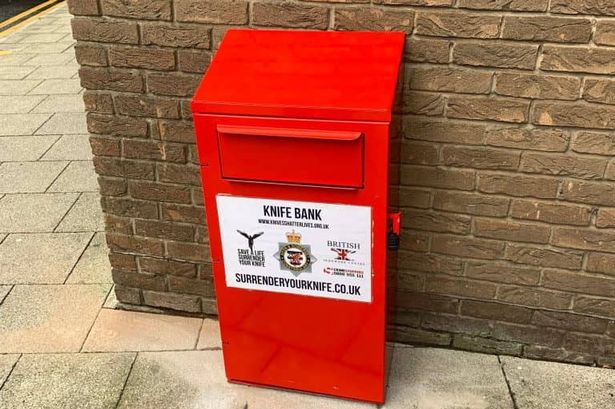 Knife surrender bin in the UK, where the public can deposit their scary knives to prevent their use in crimes and everyday cooking