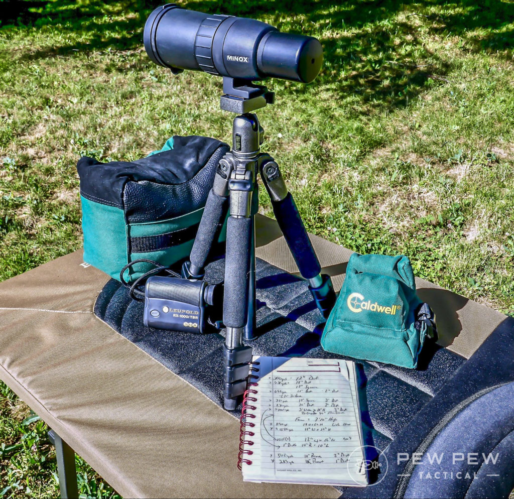 Solid rests, a range finder, spotting scope and a notebook are some basics that are helpful