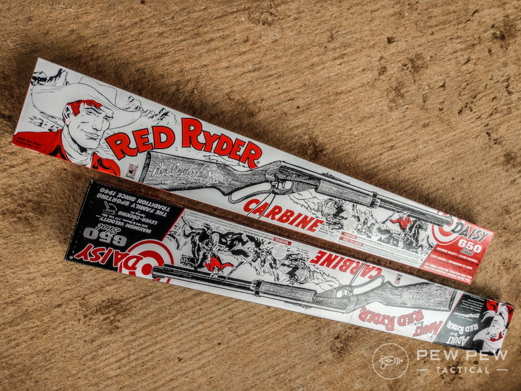 This year Daisy brought back the retro, out-of-print packaging for their youth and adult Red Ryder Model 1938s