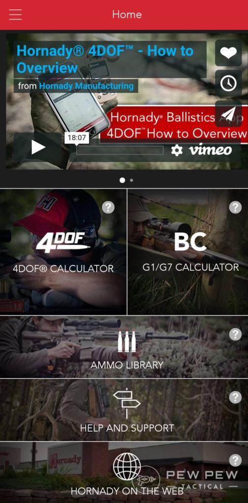 Hornady 4DOF App Main Screen