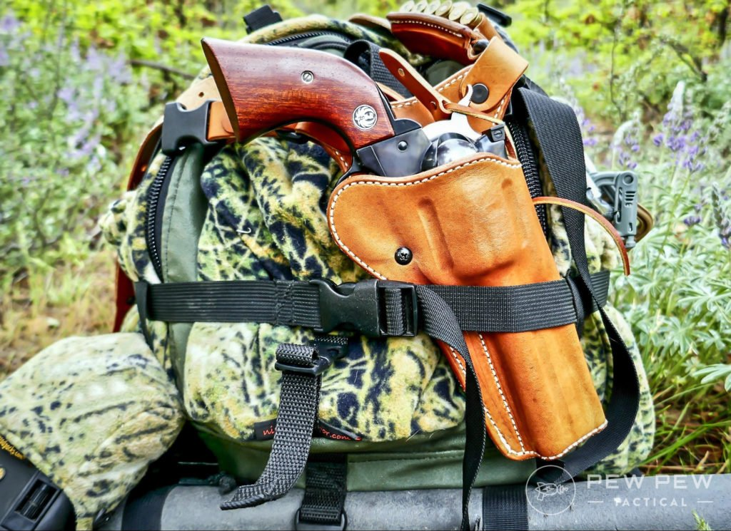 A Ruger Blackhawk in a beautiful Diamond D Guides Choice Chest Holster