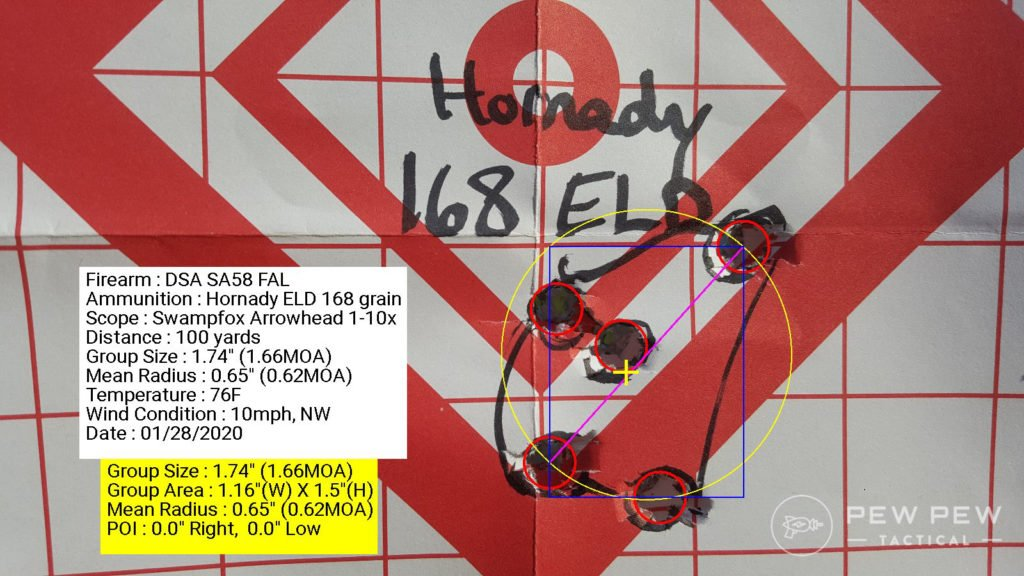 DSA FAL Best 5 shot group of Hornady Match ELD 168 grain coming in at 1.66 MOA