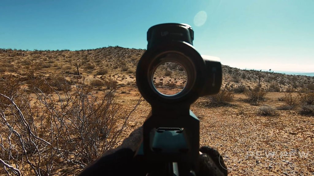 Trijicon MRO Red Reflex Sight in Desert on Steel