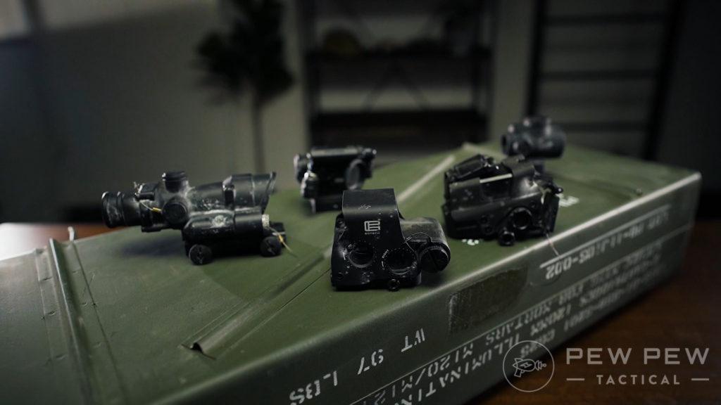 Group Shot of Destroyed Optics