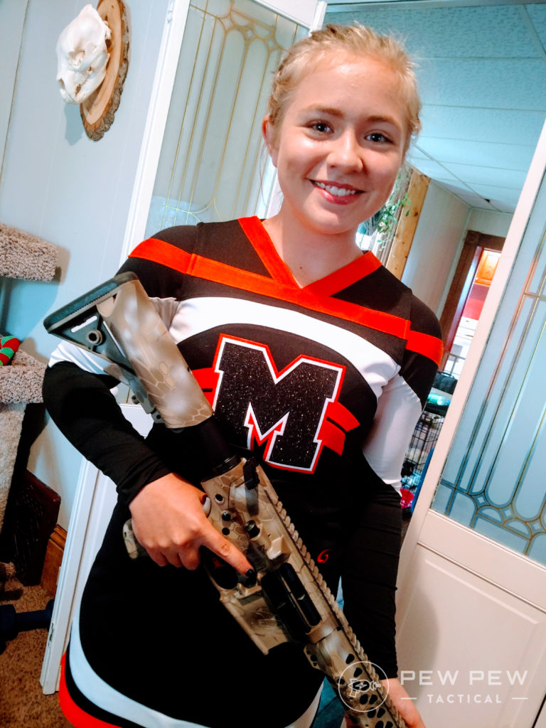 A teenage cheerleader and an Axelson Tactical AR-10: a perfect match.
