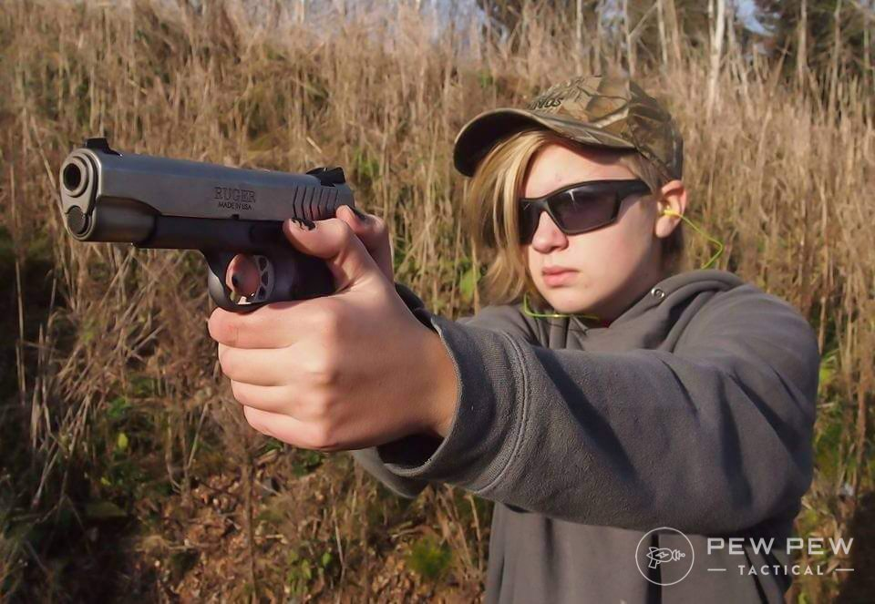 9mms like this Ruger SR1911 Lightweight Commander are a good option for kids (this is actually the author's daughter's gun).