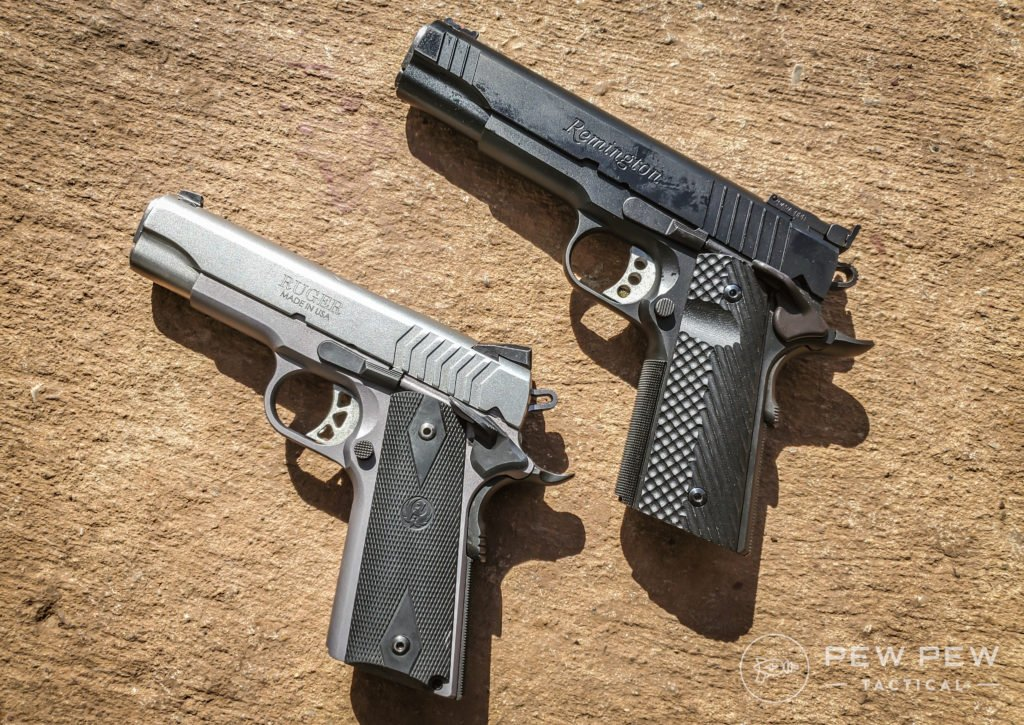 A modern-era Series 70 Ruger SR1911, picture left, and a Series 80 Remington R1, picture right