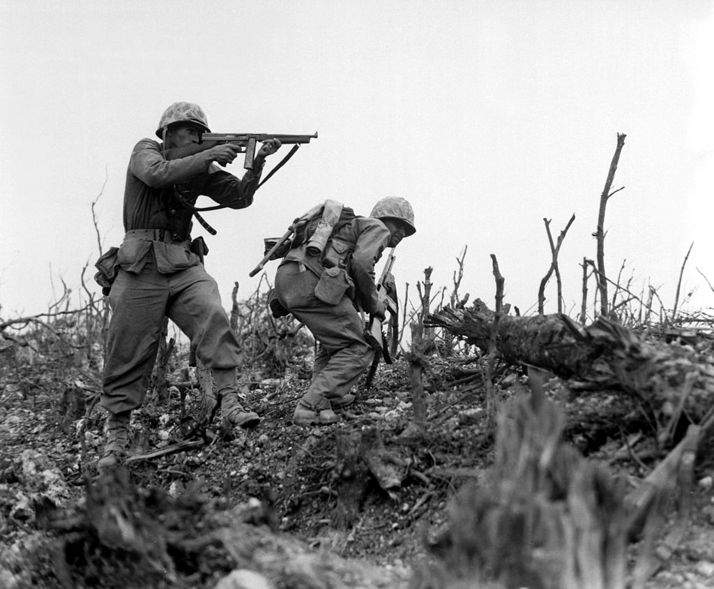 Marines with Tommy guns in Okinawa 1945