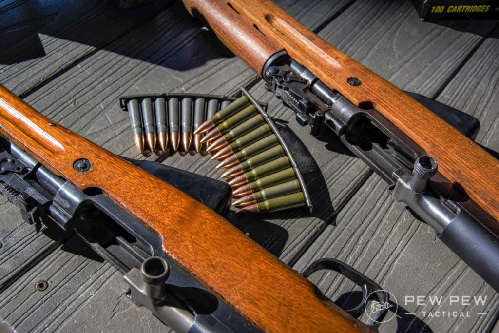 Each rifle takes the same ammunition type and can easily eat through steel cased bi-metal bullets. SKS