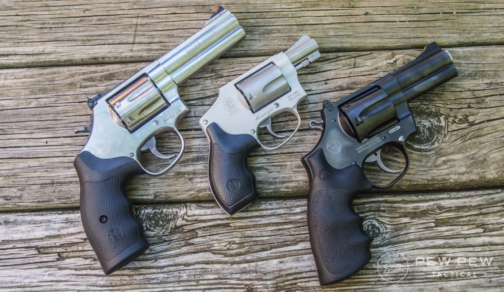 Check revolvers to be sure the cylinder fits well and is not loose. Also check to see I the cylinder lines up correctly with the barrel.