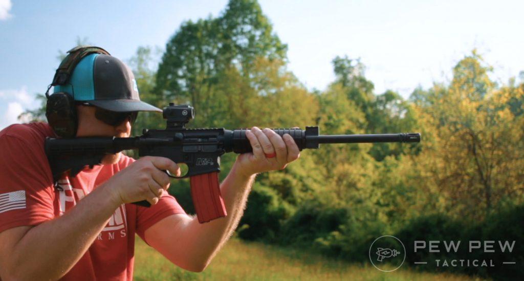 S&W M&P Sport II shooting, down hill!