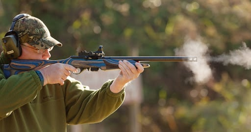 A Steel Challenge rifle competitor