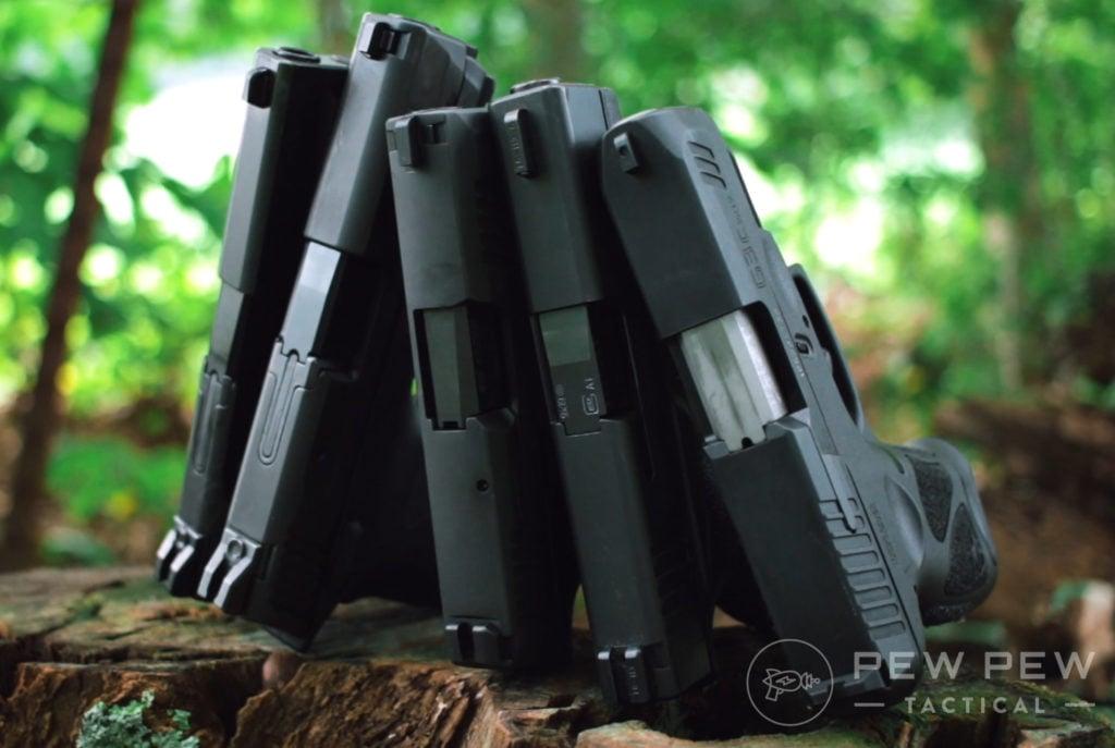 S&W M&P Shield EZ, Sig P365, Glock 43x