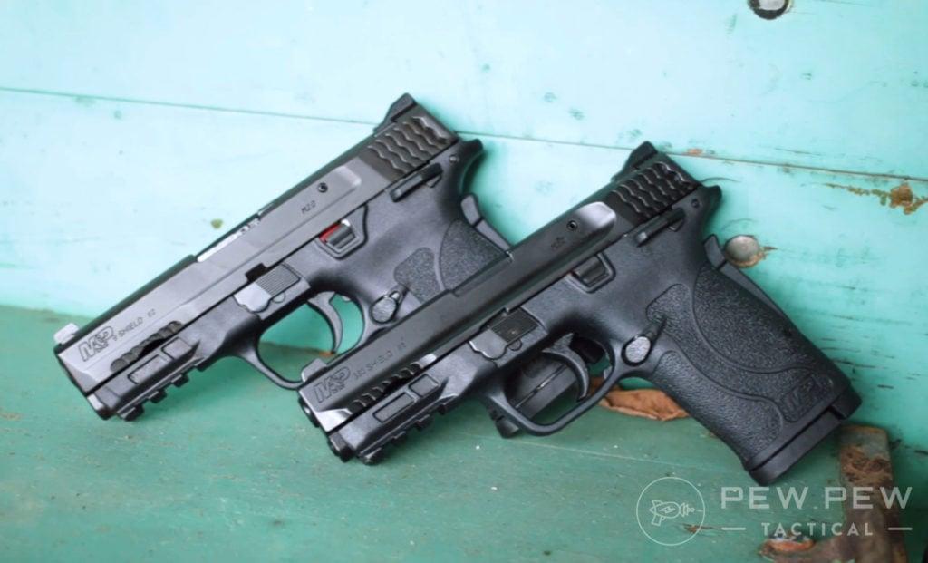 Shield EZ 9mm Vs EZ380 next to each other