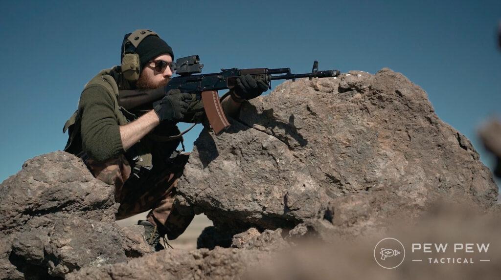 Lancaster Arms Rough Rider AK-74 Shooting Rock