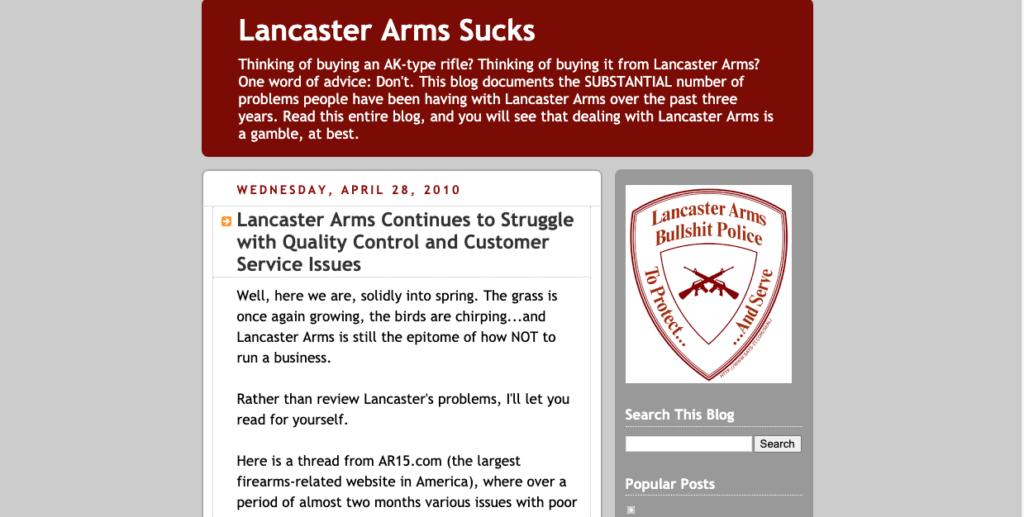 Lancaster Arms Sucks