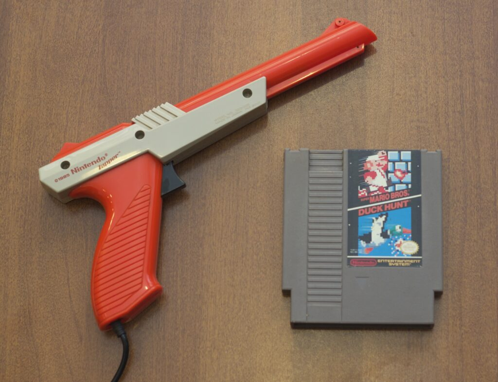 Nintendo Zapper light gun and Duck Hunt cartridge