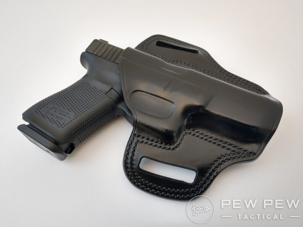 Glock in a leather OWB holster