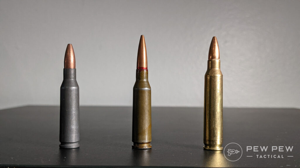Left to right: Wolf 5.45x39mm, 7N6, .223 Rem