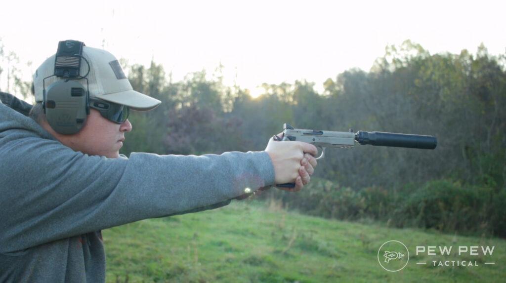 Silencer Center Banish 45 Pistol Shooting